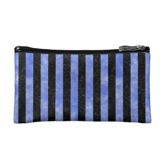 STRIPES1 BLACK MARBLE & BLUE WATERCOLOR COSMETIC BAG