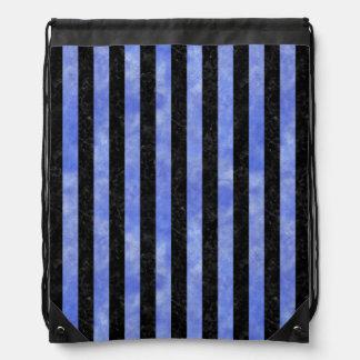 STRIPES1 BLACK MARBLE & BLUE WATERCOLOR DRAWSTRING BAG