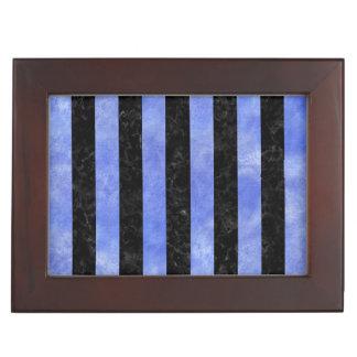 STRIPES1 BLACK MARBLE & BLUE WATERCOLOR KEEPSAKE BOX