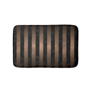 STRIPES1 BLACK MARBLE & BRONZE METAL BATH MAT