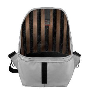 STRIPES1 BLACK MARBLE & BRONZE METAL COURIER BAG