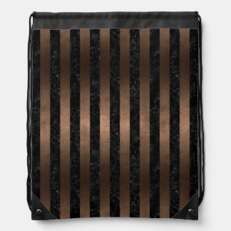 STRIPES1 BLACK MARBLE & BRONZE METAL DRAWSTRING BAG
