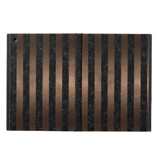 STRIPES1 BLACK MARBLE & BRONZE METAL iPad AIR CASE