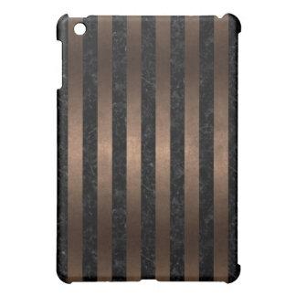 STRIPES1 BLACK MARBLE & BRONZE METAL iPad MINI COVER