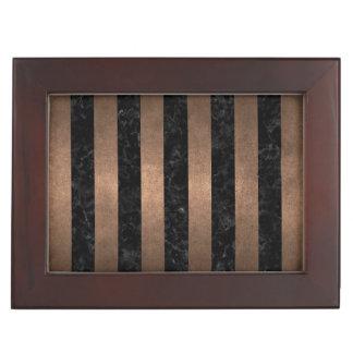 STRIPES1 BLACK MARBLE & BRONZE METAL KEEPSAKE BOX