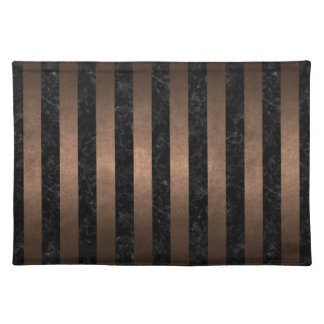 STRIPES1 BLACK MARBLE & BRONZE METAL PLACEMAT
