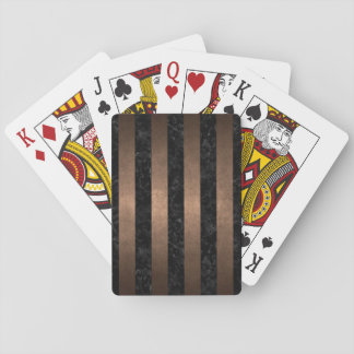 STRIPES1 BLACK MARBLE & BRONZE METAL PLAYING CARDS