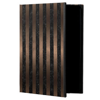 STRIPES1 BLACK MARBLE & BRONZE METAL POWIS iPad AIR 2 CASE