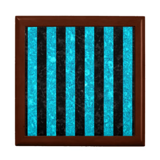 STRIPES1 BLACK MARBLE & TURQUOISE MARBLE GIFT BOX