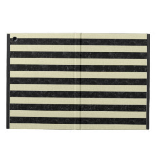 STRIPES2 BLACK MARBLE & BEIGE LINEN CASE FOR iPad AIR