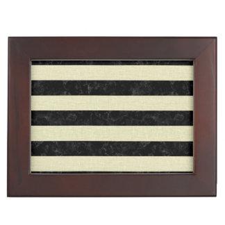STRIPES2 BLACK MARBLE & BEIGE LINEN KEEPSAKE BOX