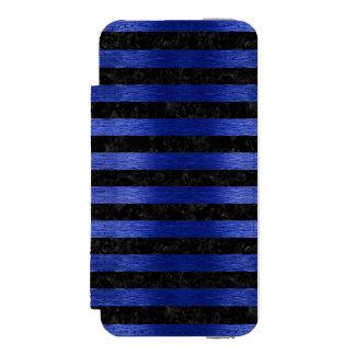 STRIPES2 BLACK MARBLE & BLUE BRUSHED METAL INCIPIO WATSON™ iPhone 5 WALLET CASE
