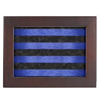 STRIPES2 BLACK MARBLE & BLUE BRUSHED METAL KEEPSAKE BOX