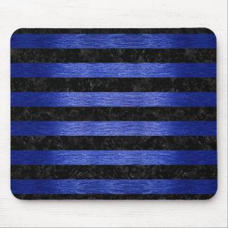 STRIPES2 BLACK MARBLE & BLUE BRUSHED METAL MOUSE PAD