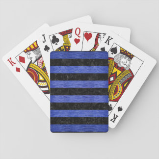 STRIPES2 BLACK MARBLE & BLUE BRUSHED METAL PLAYING CARDS