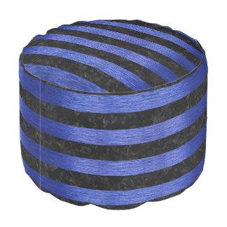STRIPES2 BLACK MARBLE & BLUE BRUSHED METAL POUF