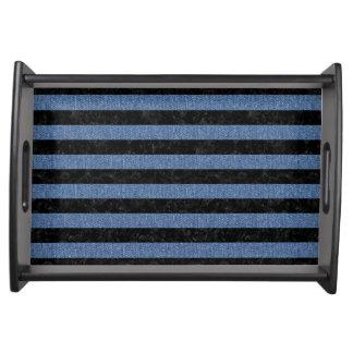 STRIPES2 BLACK MARBLE & BLUE DENIM SERVING TRAY
