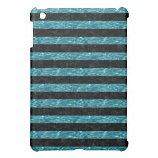 STRIPES2 BLACK MARBLE & BLUE-GREEN WATER COVER FOR THE iPad MINI