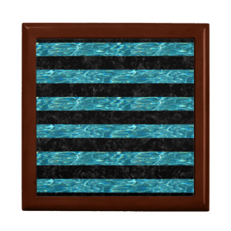 STRIPES2 BLACK MARBLE & BLUE-GREEN WATER GIFT BOX