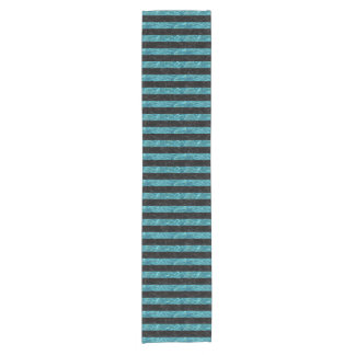 STRIPES2 BLACK MARBLE & BLUE-GREEN WATER SHORT TABLE RUNNER