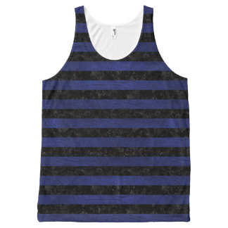STRIPES2 BLACK MARBLE & BLUE LEATHER All-Over PRINT SINGLET