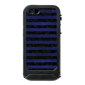 STRIPES2 BLACK MARBLE & BLUE LEATHER INCIPIO ATLAS ID™ iPhone 5 CASE