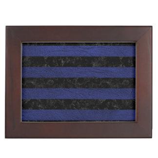 STRIPES2 BLACK MARBLE & BLUE LEATHER KEEPSAKE BOX
