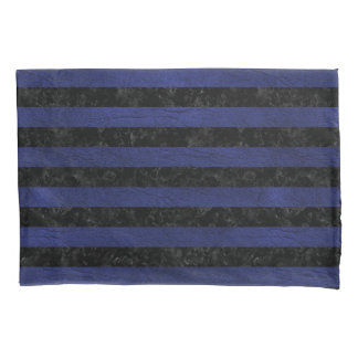 STRIPES2 BLACK MARBLE & BLUE LEATHER PILLOWCASE