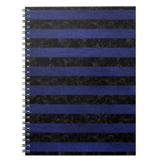 STRIPES2 BLACK MARBLE & BLUE LEATHER SPIRAL NOTEBOOK