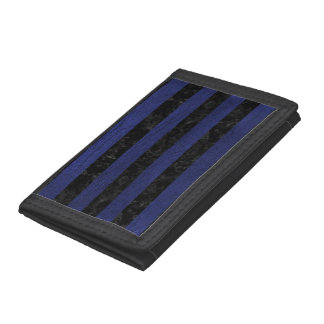 STRIPES2 BLACK MARBLE & BLUE LEATHER TRI-FOLD WALLET