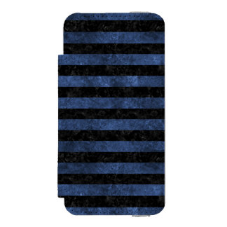 STRIPES2 BLACK MARBLE & BLUE STONE INCIPIO WATSON™ iPhone 5 WALLET CASE