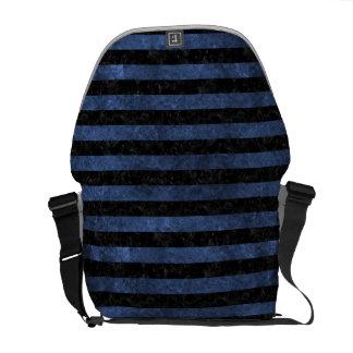 STRIPES2 BLACK MARBLE & BLUE STONE MESSENGER BAG
