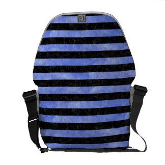STRIPES2 BLACK MARBLE & BLUE WATERCOLOR COURIER BAG