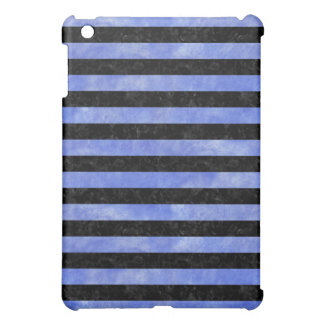 STRIPES2 BLACK MARBLE & BLUE WATERCOLOR COVER FOR THE iPad MINI