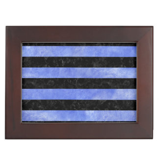 STRIPES2 BLACK MARBLE & BLUE WATERCOLOR KEEPSAKE BOX