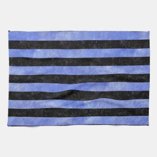 STRIPES2 BLACK MARBLE & BLUE WATERCOLOR TEA TOWEL