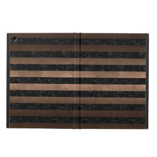STRIPES2 BLACK MARBLE & BRONZE METAL iPad AIR COVER