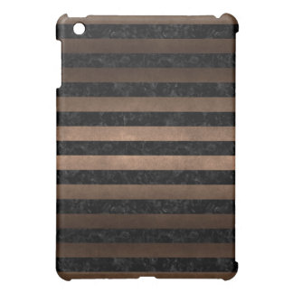 STRIPES2 BLACK MARBLE & BRONZE METAL iPad MINI CASES