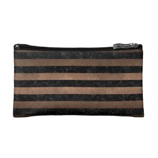 STRIPES2 BLACK MARBLE & BRONZE METAL MAKEUP BAG