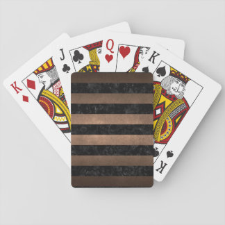 STRIPES2 BLACK MARBLE & BRONZE METAL PLAYING CARDS