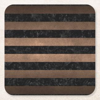 STRIPES2 BLACK MARBLE & BRONZE METAL SQUARE PAPER COASTER