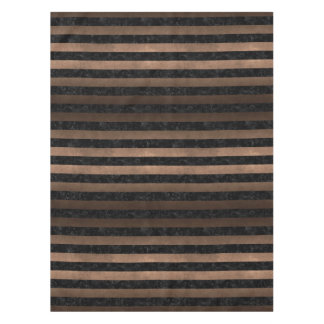 STRIPES2 BLACK MARBLE & BRONZE METAL TABLECLOTH