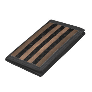 STRIPES2 BLACK MARBLE & BRONZE METAL TRIFOLD WALLET