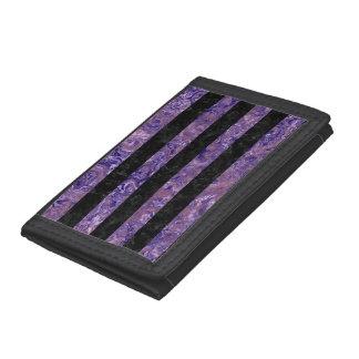STRIPES2 BLACK MARBLE & PURPLE MARBLE TRI-FOLD WALLETS