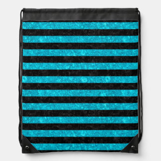 STRIPES2 BLACK MARBLE & TURQUOISE MARBLE DRAWSTRING BAG