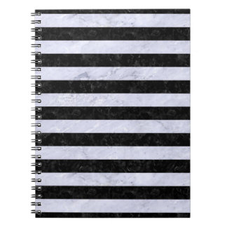 STRIPES2 BLACK MARBLE & WHITE MARBLE NOTEBOOK