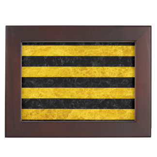 STRIPES2 BLACK MARBLE & YELLOW MARBLE KEEPSAKE BOX