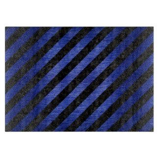 STRIPES3 BLACK MARBLE & BLUE BRUSHED METAL CUTTING BOARD