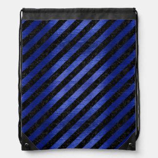 STRIPES3 BLACK MARBLE & BLUE BRUSHED METAL DRAWSTRING BAG