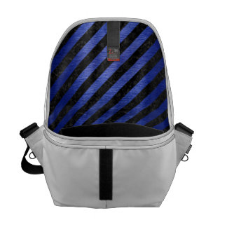 STRIPES3 BLACK MARBLE & BLUE BRUSHED METAL MESSENGER BAG